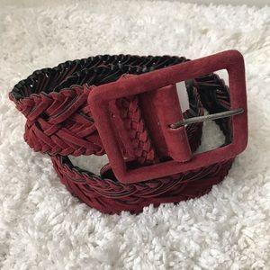 MAX AZRIA Western Tex Maroon Woven Belt